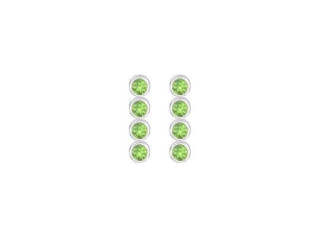 Peridot Drop earrings in Bezel set 14K White Gold Ten Carat Total Gem Weight