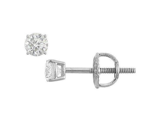 18K White Gold  Round Diamond Stud Earrings  0.10 CT. TW.