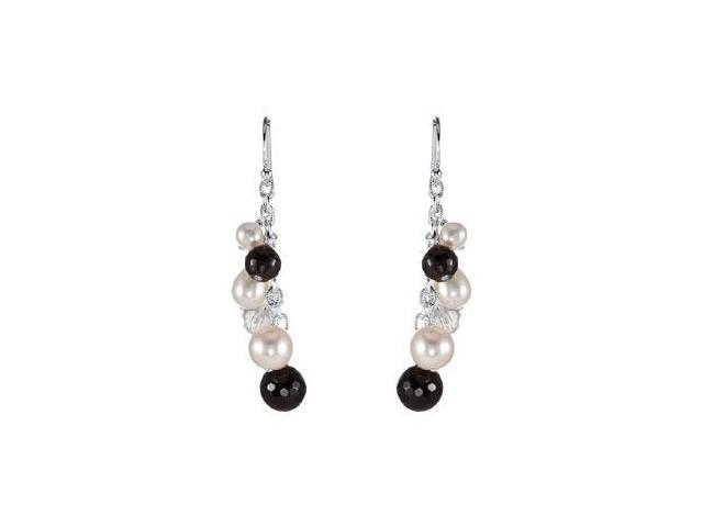 Onyx Crystal and Freshwater Pearl Earrings in Rhodium Treated .925 Sterling Silver