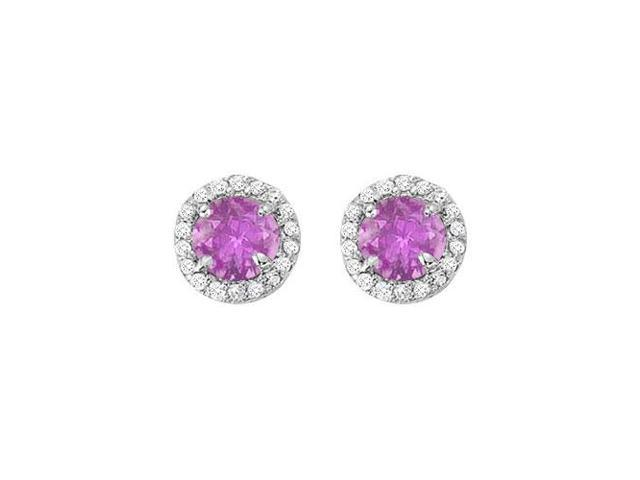 February Birthstone Amethyst and CZ  Halo Stud Earrings in Sterling Silver 2.25 CT TGW