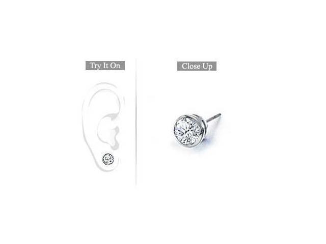 Mens 14K White Gold  Bezel-Set Round Diamond Stud Earrings 0.50 CT. TW.
