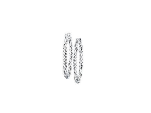 Pave Cubic Zirconia 50mm Round Inside Out Hoop Earrings in White Rhodium over Sterling Silver