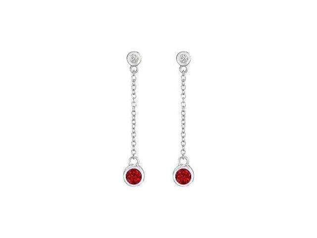 Ruby and Diamond Earrings  14K White Gold - 0.60 CT TGW