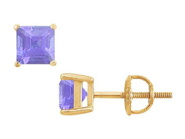 Tanzanite Stud Earrings  14K Yellow Gold - 2.00 CT TGW