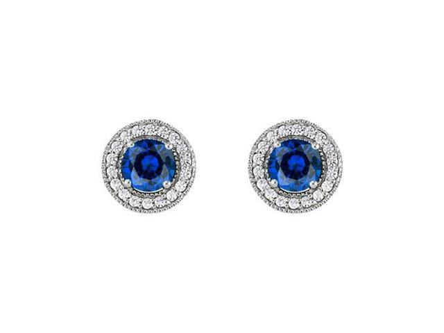 September Birthstone Sapphire and CZ Halo Stud Earrings in 14kt White Gold 2.50 CT TGW