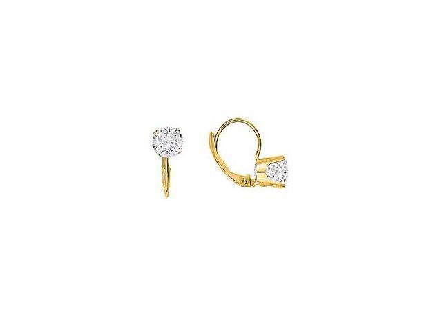 April Birthstone Cubic Zirconia Leverback Earrings in 14K Yellow Gold 1.00 CT TGW