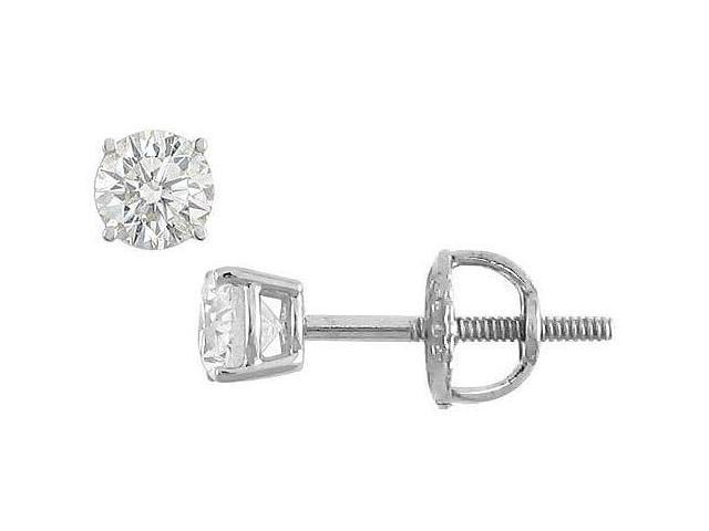 18K White Gold  Round Diamond Stud Earrings  0.25 CT. TW.