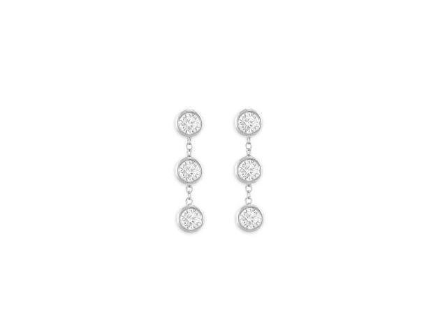 Station Earrings of Triple AAA Quality Cubic Zirconia Bezel Set in 14K White Gold Six Carat TGW