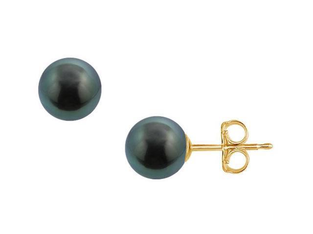 Tahitian Pearl Stud Earrings  18K Yellow Gold  10 MM