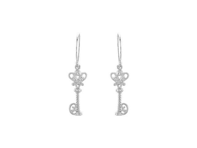 .925 Sterling Silver Vintage Inspired Key Design Dangle Earrings