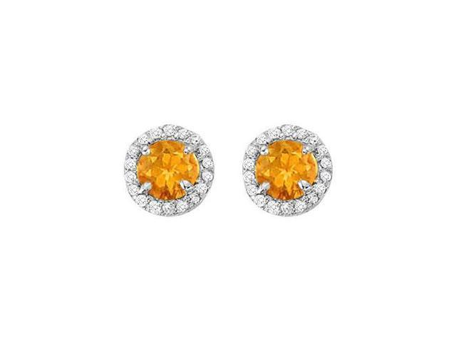 November Birthstone Citrine and Cubic Zirconia Halo Stud Earrings in Sterling Silver 2.25 CT TGW