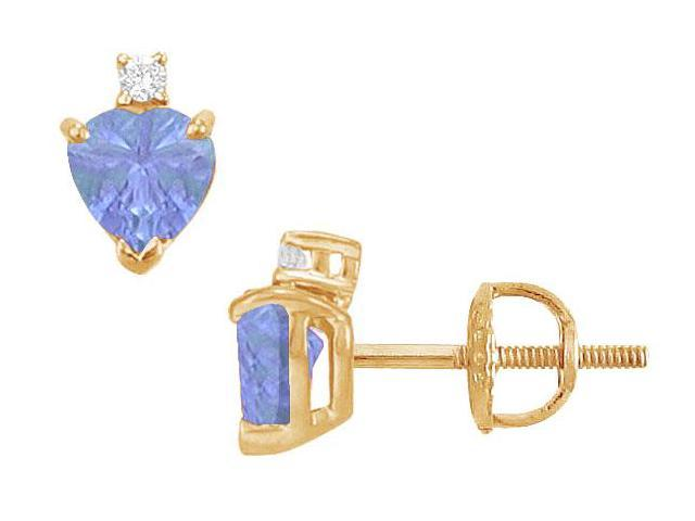 Diamond and Tanzanite Stud Earrings  14K Yellow Gold - 2.04 CT TGW