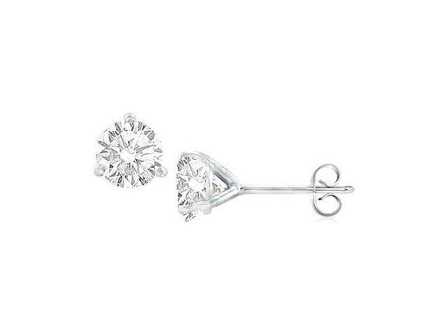 14K White Gold Martini Style Cubic Zirconia Stud Earring with 1.00 CT TGW