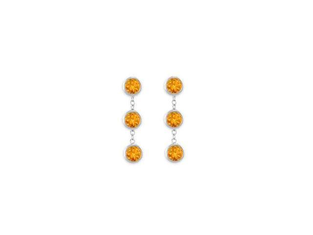 Fashion Citrine Station Earrings Six Carat Total Gem Weight Bezel Set in 14K White Gold