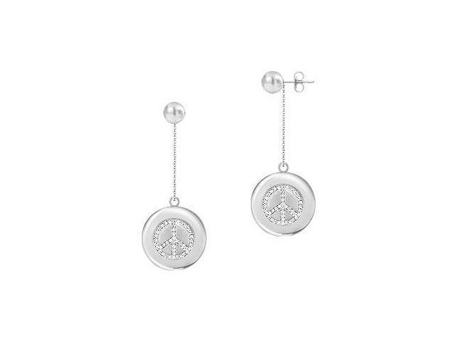 Diamond Peace Earrings  14K White Gold - 0.66 CT Diamonds