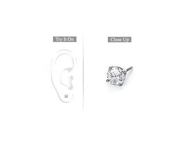 Mens 18K White Gold  Round Diamond Stud Earring  0.25 CT. TW.