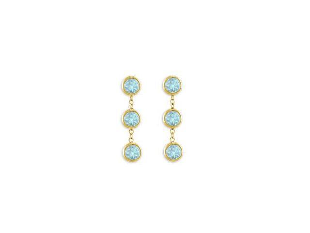 Bezel Set Created Aquamarine Station Earrings in 14K Yellow Gold Six Carat Total Gem Weight