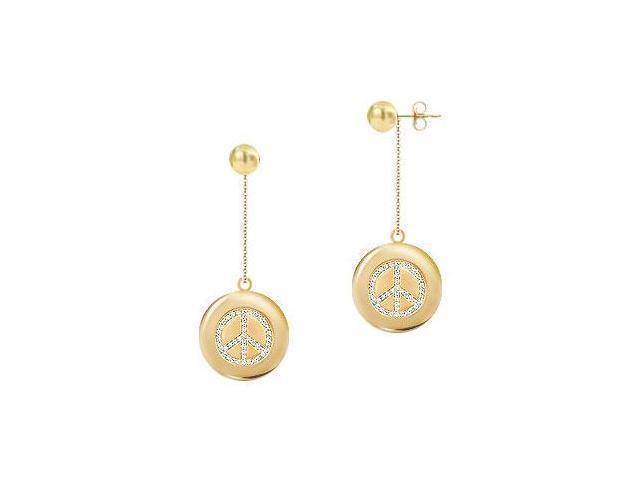 Diamond Peace Earrings  14K Yellow Gold - 0.66 CT Diamonds