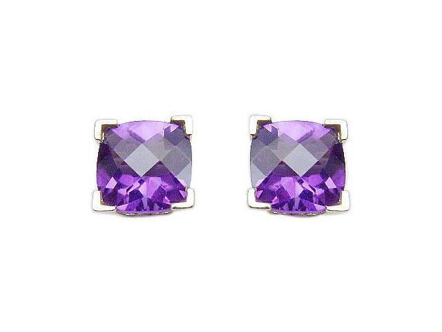 Amethyst Earrings  14K White Gold - 2.25 CT TGW
