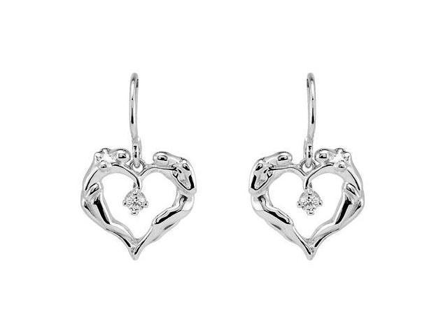 Universal Love Heart Earrings in Rhodium Treated .925 Sterling Silver