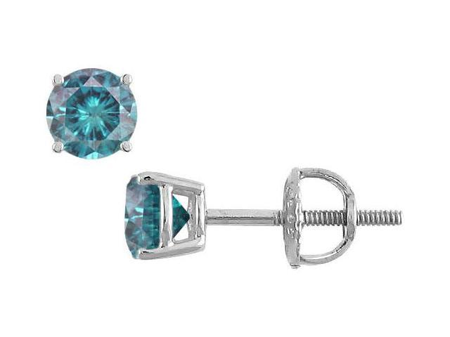 Blue Diamond Stud Earrings  14K White Gold  0.50 CT Diamonds