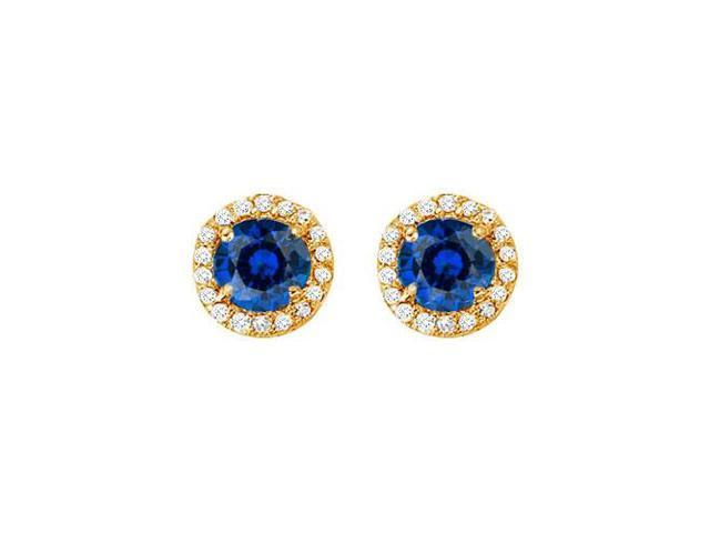 September Birthstone Created Sapphire and CZ Halo Stud Earrings in 14kt Yellow Gold 2.25 CT TGW