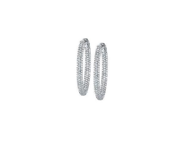 Pave Cubic Zirconia 37mm Oval Inside Out Hoop Earrings in White Rhodium over Sterling Silver