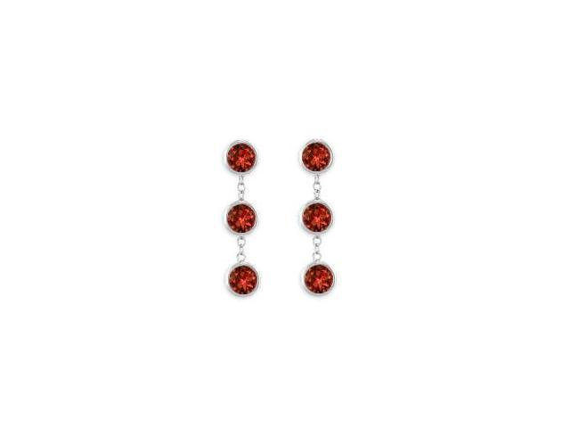 14K White Gold Bezel Set Garnet Fashion Station Earrings with Six Carat Total Gem Weight