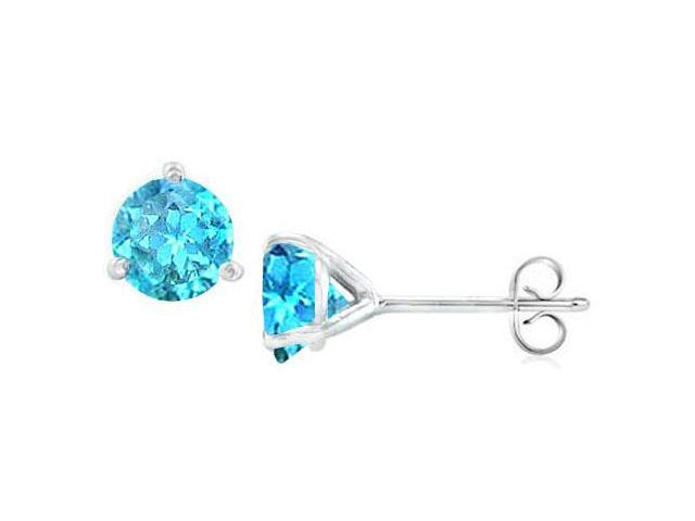14K White Gold Martini Style Blue Topaz Stud Earrings with 2.00 CT TGW