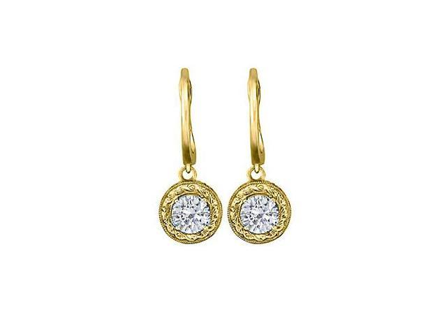 April Birthstone CZ Leverback Earrings in 14K Yellow Gold 0.50 CT TGW- April Birthday Gift