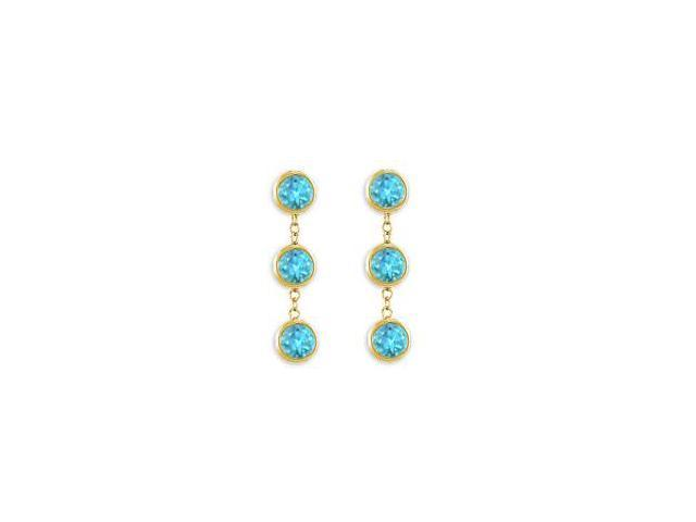 Six Carat Totaling Created Blue Topaz Drop Station Earrings in 14K Yellow Gold Bezel Setting