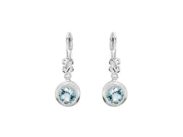 Genuine Aquamarine and Diamond Earrings in .925 Sterling Silver 1.50 Carat Total Gem Weight