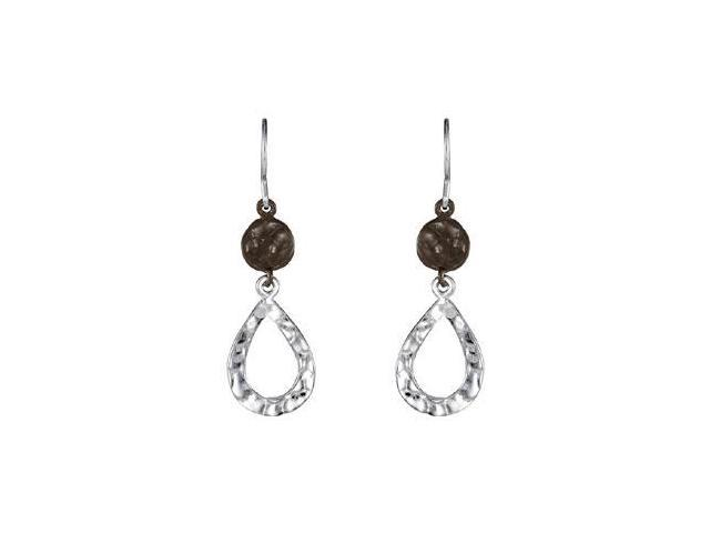 Textured Fashion Dangle Earrings in .925 Sterling Silver 37.00X12.00 MM