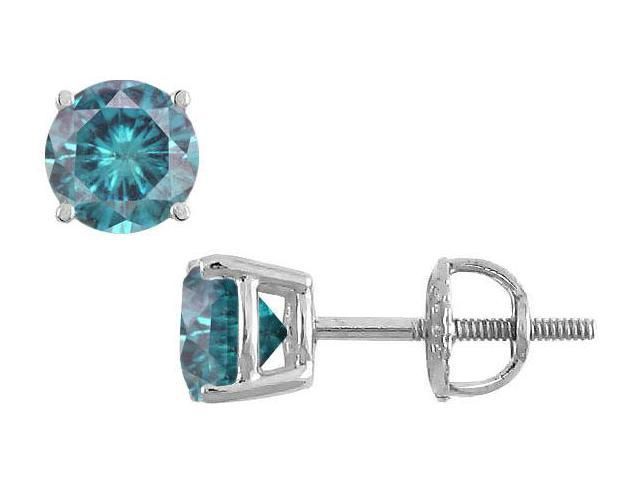 Blue Diamond Stud Earrings  14K White Gold  0.75 CT Diamonds