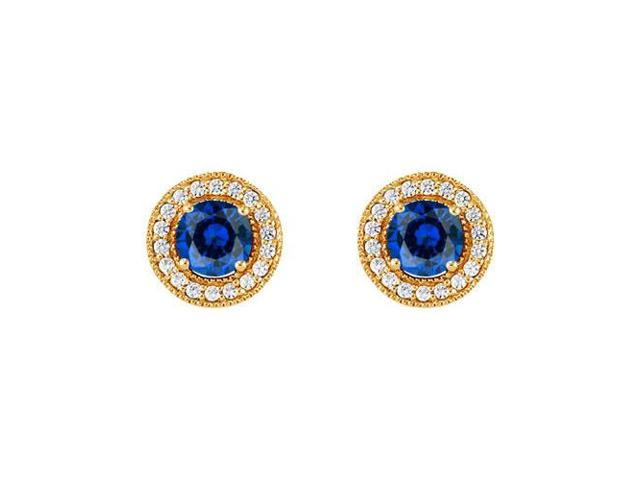September Birthstone Sapphire and CZ Halo Stud Earrings in 14kt Yellow Gold 2.50 CT TGW