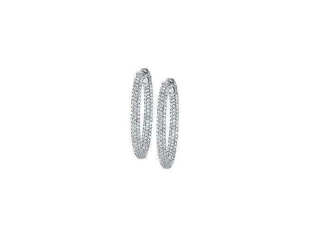 Pave Cubic Zirconia 49mm Oval Inside Out Hoop Earrings in White Rhodium over Sterling Silver