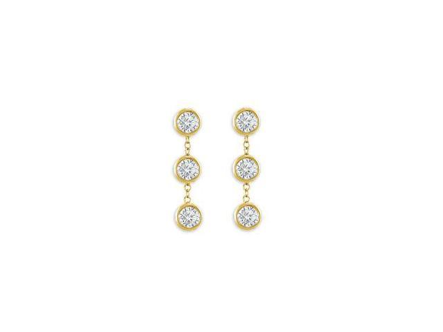 Station Earrings of Triple AAA Quality Cubic Zirconia Bezel Set in 14K Yellow Gold Six Carat TG