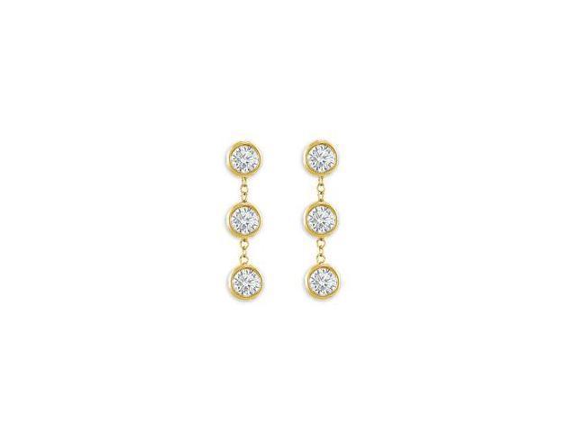 Station Earrings of Triple AAA Quality Cubic Zirconia Bezel Set in 14K Yellow Gold Six Carat TG