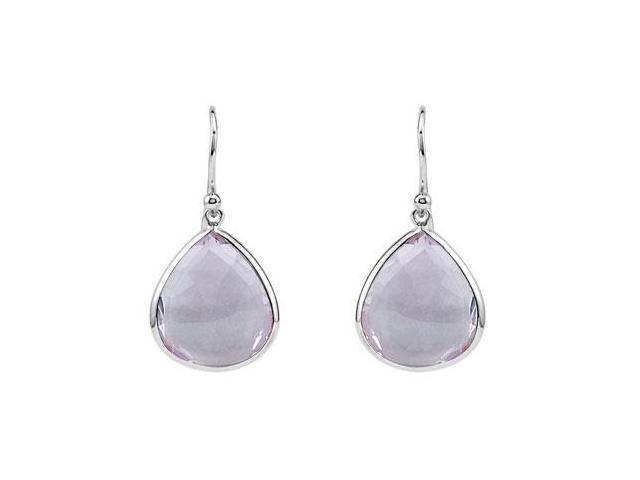 Amethyst Earrings with Rhodium Treated .925 Sterling Silver 16.00X14.00 MM