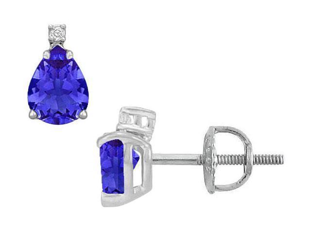 Diamond and Sapphire Stud Earrings  14K White Gold - 2.04 CT TGW