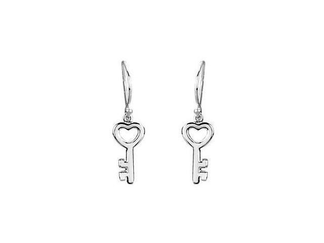 Petite Key Earrings in Rhodium Treated .925 Sterling Silver