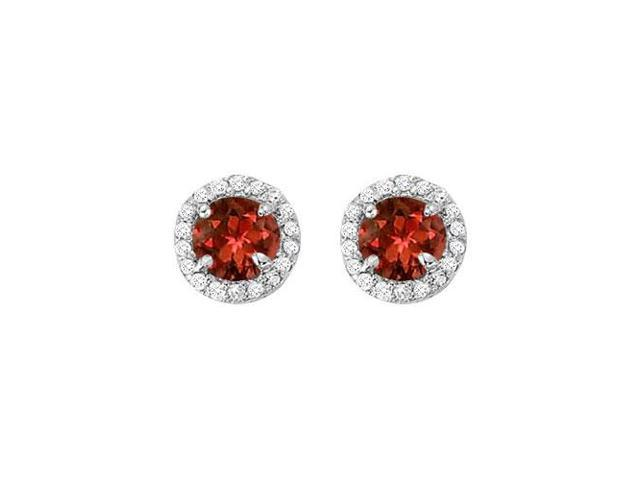 January Birthstone Garnet and Cubic Zirconia Halo Stud Earrings in Sterling Silver 2.25 CT TGW