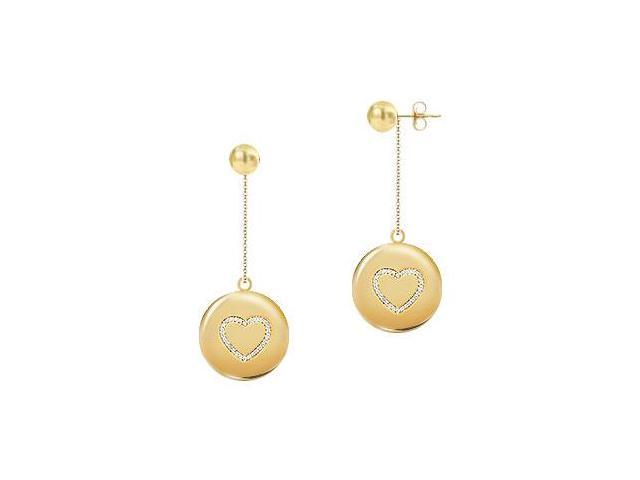 Diamond Heart Disc Earrings  14K Yellow Gold - 0.33 CT Diamonds