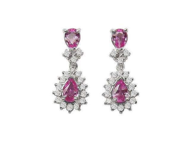 Pink Sapphire and Diamond Earrings  14K White Gold - 2.50 CT TGW