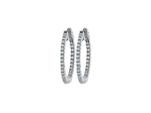 CZ 25mm Round Prong.01 Inside Out Hoop Earrings in White Rhodium over Sterling Silver