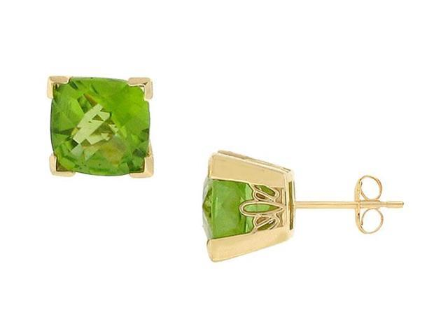 Peridot Earrings  14K yellow Gold - 2.75 CT TGW