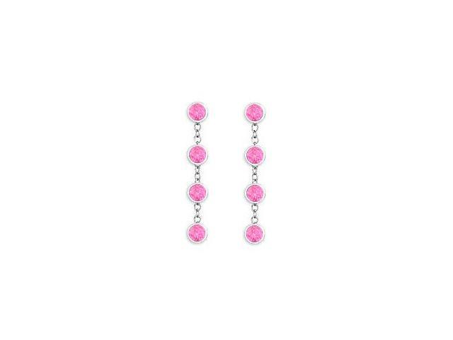Created Pink Sapphire By The Yard Earrings in Sterling Silver Tiffany Style Chains One Carat TGW