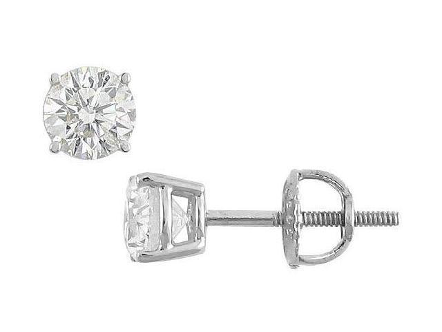 18K White Gold  Round Diamond Stud Earrings  0.75 CT. TW.