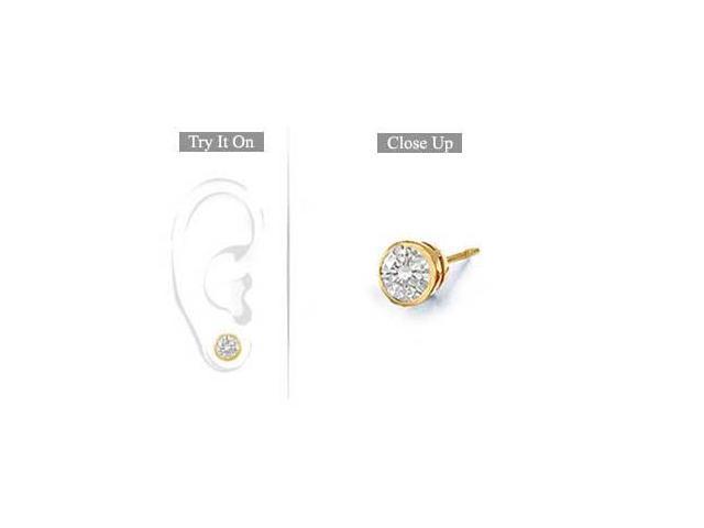 Mens 14K Yellow Gold  Bezel-Set Round Diamond Stud Earrings 0.50 CT. TW.