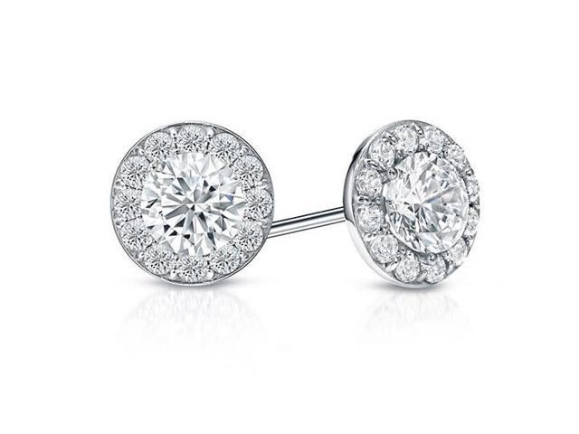 Cubic Zirconia Halo Stud Earrings in 14K White Gold 1.00.ct.tw